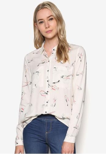 印花長袖襯衫、 服飾、 T-shirtESPRIT印花長袖襯衫最新折價