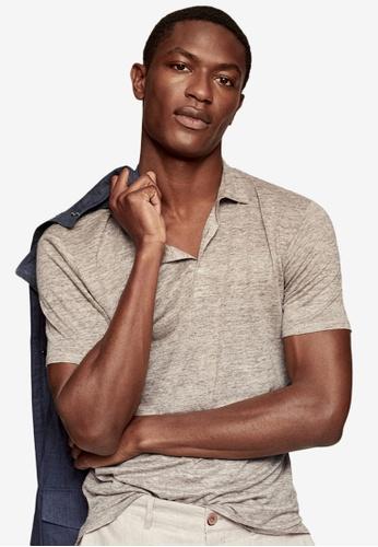 MANGO Man beige Slim Fit Linen Polo Shirt DD810AA8DE4BAFGS_1