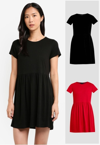 ZALORA BASICS black and red 2 Pack Essential Baby-Doll Dress ZA274AA0JFOTSG_1