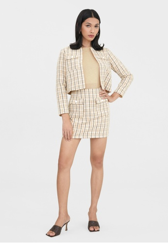 Pomelo beige Striped Tweed Skirt - Beige FAE42AA24A9FFDGS_1