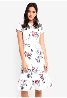 09d5a0ce9ea MDSCollections white Lidia Ruffled-Hem Dress In White Floral  D413AAA6316BE9GS 1