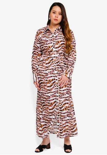 Plus Size Printed Maxi Shirt Dress