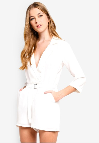 MISSGUIDED white Wrap Blazer Playsuit 582C4AACE88DCBGS_1