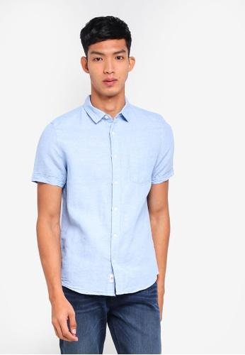 Burton Menswear London 藍色 Light Blue Short Sleeve Linen Shirt 529F2AA542ACFEGS_1