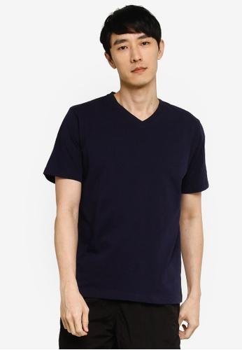 GLOBAL WORK navy V Neck T-Shirt 3CA7AAA0EE62A0GS_1