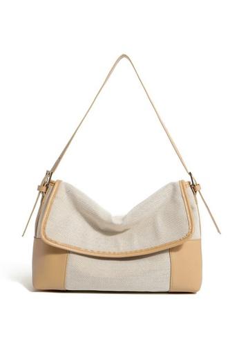 Lara beige Women's Leisure Leather Flap Shoulder Bag - Beige AE46EAC30490F7GS_1