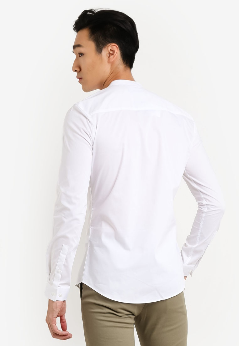 Topman Collar Long Skinny Sleeve White Smart White Shirt Stand Stretch qwpSHTvR7