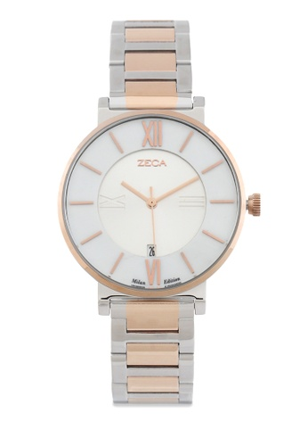 ZECA silver and beige and gold Zeca Watches Ladies Fashion Stainless Steel Analog - 1012L Rosegold 2D4FAAC3C6EBCBGS_1