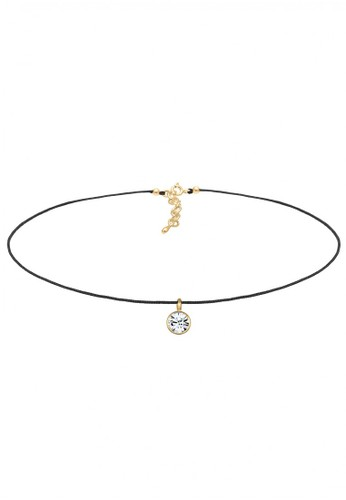 Elli Germany gold Perhiasan Wanita Perak Asli - Silver Kalung Choker Solitaire Crystal Gold Plated EL948AC62GZDID_1