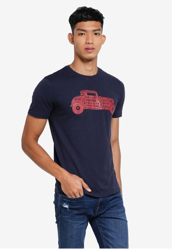 OVS blue and navy Graphic T-Shirt C0453AAB97DE55GS_1