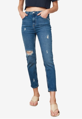Trendyol navy High Waist Slim Fit Jeans 1ADC5AA25AE0D5GS_1