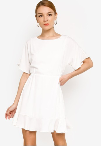Origin by Zalora white 100% Recycled Polyester Elasticated Flowy Dress AF725AA179E9F0GS_1