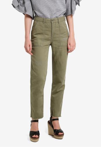 TOPSHOP green Khaki Utility Trousers TO412AA0RIAAMY_1