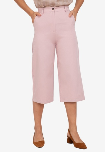 ZALORA WORK pink Contrast Stitching Culottes 94D81AACCE1BBCGS_1