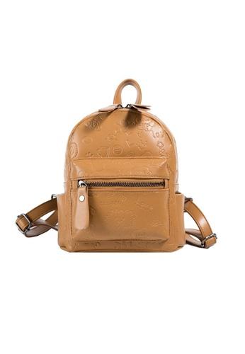 Lara brown Women's Cute Cartoon Embossed PU Leather Zipper Backpack - Yellow AA107AC29EA19AGS_1
