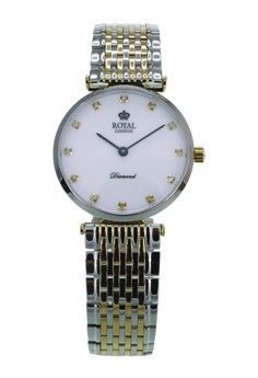 Royal London Special Edition Diamond Ladies Classic Watch RL 21341-06 White Silver Gold Stainless Steel