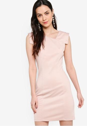 ZALORA WORK pink Cap Sleeve Sheath Dress B46B5AA74FC6FCGS_1