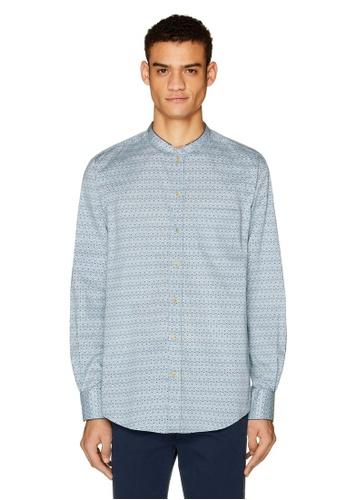 United Colors of Benetton 海軍藍色 點點紋長袖襯衫 60650AA48E412EGS_1