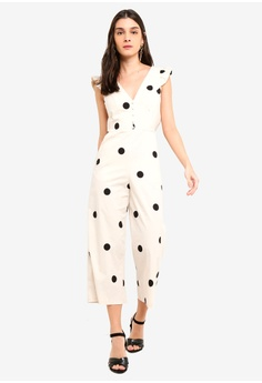 49feded4c30 Miss Selfridge white Cream Tie Back Frill Sleeve Polka Dot Jumpsuit  E866BAACA59AF5GS 1