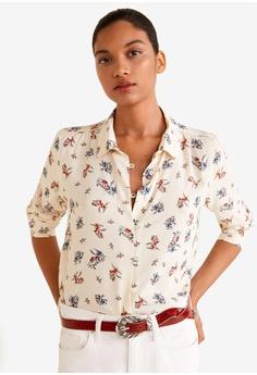 9196172dde2 Mango beige Floral Print Shirt FBD54AA0DC17A2GS 1