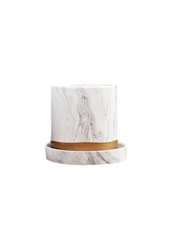 DILAS HOME Marble Effect Plant Pot (Small Pot with Tray) 01CF5HLFB45184GS_1