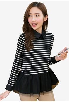 Stripe with Gauze Top