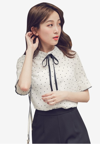 Eyescream white Ribbon Tie Pleated Cuff Blouse D85CCAA7B43B63GS_1