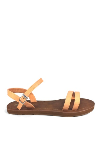 Ripples orange Belle Double Straps Sandals E969BSHB9EC1DFGS_1