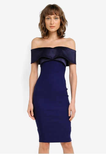 Vesper navy Freya Bardot Satin Band Detail Dress VE733AA0SM24MY_1
