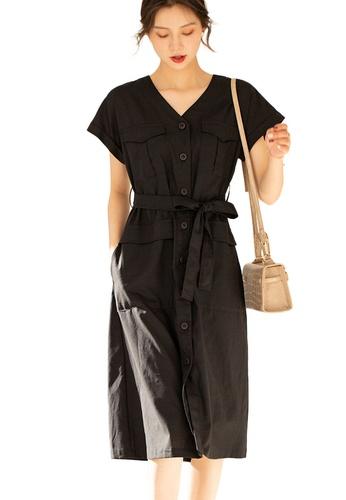 Sunnydaysweety black French Style Linen V-Neck Waist Mid-Length One Piece Dress A21031206BK 2F320AA0101219GS_1
