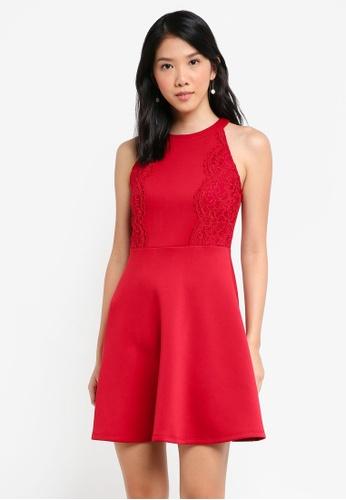 ZALORA red Scallop Lace Trim Dress DD6C0AA206FDA0GS_1