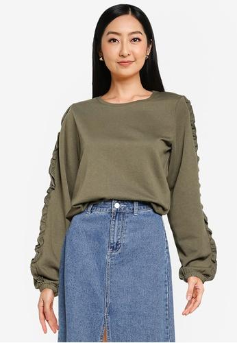 JACQUELINE DE YONG green Prove Long Sleeve Frill Sweatshirt 73EA3AA05B7B93GS_1