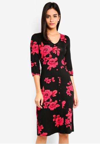 93155d06c30 Dorothy Perkins black Black Floral Print Midi Dress 6D223AABADF20DGS 1