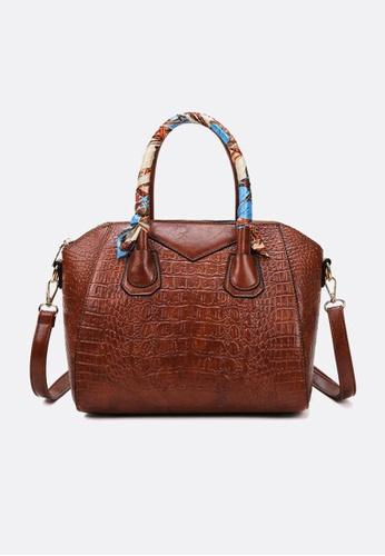 Lara brown Business Women's Silk Scarf Decorated Handle Crocodile Skin Embossed Leather Zipper Handbag Shoulder Bag - Dark Brown 92008ACCDBEBEEGS_1