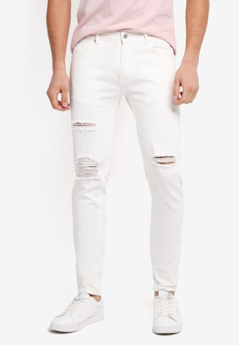 ZALORA white Slim Fit Damaged Jeans EF76DZZADBC083GS_1