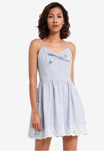 Superdry white and blue Alice Knot Dress 3B4A5AA23F877FGS_1