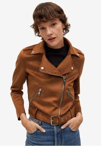 Mango brown Faux-Suede Biker Jacket 3BB50AAEB15FDAGS_1