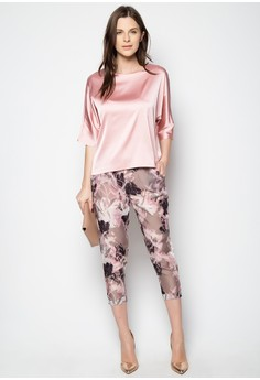 Satin Top and Printed Pants Set