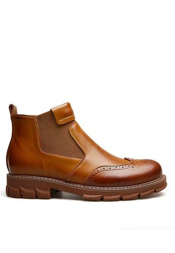 Twenty Eight Shoes 褐色 時尚皮革橡筋靴 VMB12630 49D6DSHFE777F5GS_1