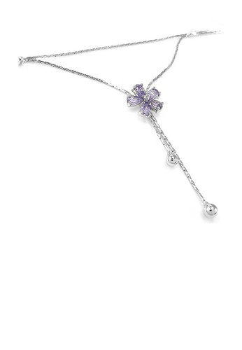 Glamorousky silver Elegant Flower Anklet with Purple and Silver Austrian Element Crystals 95E25AC0A1D90AGS_1