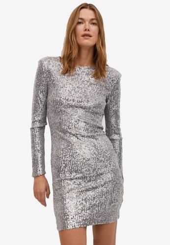 Mango silver Short Sequin Dress 8A28AAA1805726GS_1