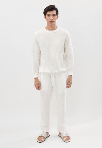 ANDY SULAIMAN white DANIEL WHITE LINEN TROUSERS 943EDAA1DD0967GS_1