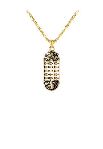 Glamorousky silver Fashion Vintage Plated Gold Wishful Abacus 316L Stainless Steel Pendant with Necklace 6ED4EACE9760C9GS_1