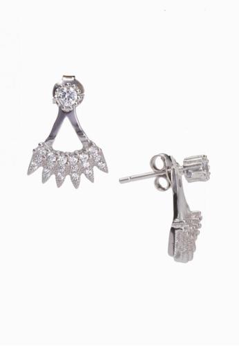 Cubic Zirconia Silver Crown Shaped Stud Earrings