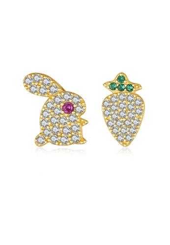 SUNRAIS gold High quality Silver S925 golden rabbit earrings 0AE38AC44F3168GS_1