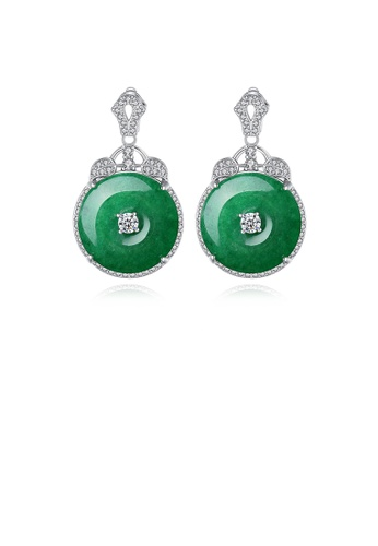 Glamorousky white Fashion and Elegant Palace Geometric Round Green Earrings with Cubic Zirconia 1EAB9ACFA59C04GS_1