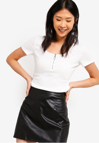 ZALORA BASICS white Basic Zip Front Short Sleeves Rib Top 09826AA9003375GS_1