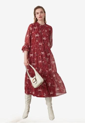 Trendyol red Floral Print Ruffled Chiffon Midi Dress 90B04AA209426EGS_1