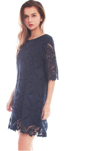 JOVET blue and navy Floral Lace Dress 16E94AA3988A47GS_1
