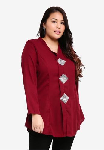 BYN red Plus Size Kebaya Top B05BDAA7704D24GS_1